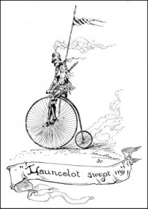 Twain's drawing of Lancelot sweeping in upon his bicycle.